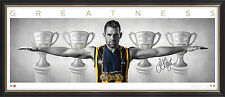 Luke Hodge Signed Wings Hawthorn AFL Print Framed inc Premiership Cups 300 Games