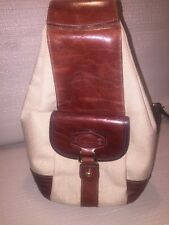OROTON Canvas And Cognac Leather Small Bucket Bag Slingback Purse EUC