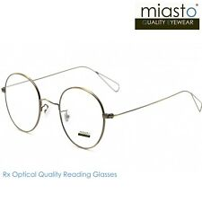 MIASTO ROUND CIRCLE METAL READING GLASSES+3.00 OPTICAL ULTRA LIGHT (DEEP GOLD)