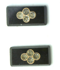 Antique Vintage Black JET Gold Inlaid Rhinestone Stone 6 pieces/set  #K49