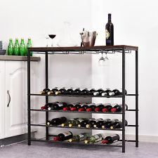 Wine Rack 40 Bottle 24 Glass Storage Display Unit Metal MDF Shelf Home Cellar