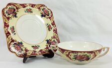 Crown Ducal Ware CRD38 Maroon Rim Pink Blue Floral CREAM SOUP & SAUCER 2 Pc. Set