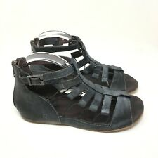 ROAN Women's Casual Leather Open Zip Black Gladiator Sandals Size 7.5