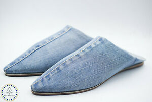 Babouche Denim Moroccan Slippers Pointed Toe shoes Leather Women Handmade Blue