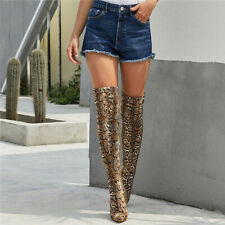 Women's Fashion Snakeskin Printed Stretch Calf Boots Knee Thigh High Heels