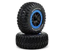 Traxxas 5883A Tire/Wheel Glued Front/Rear Spoke Black/Blue (2): 1/10 Slash 4x4