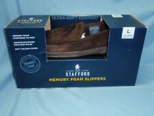 NEW STAFFORD Memory Foam Father's Day Slippers Non-skid Dark Brown L 9.5-10.5