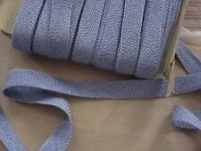 Ancien Galon coton tressé  passementerie bleu lavande  20 mm de large au mètre