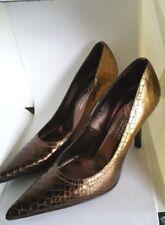 NEW $279 DONAL J PLINER  Metallic Gator Leather Shoes Heels Pumps  6.5  NWOB