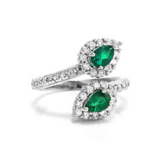 Emerald and Diamond Halo Bypass Ring in 18K White Gold | FJ