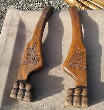 Pair Antique Oak Claw Feet 1900s Era