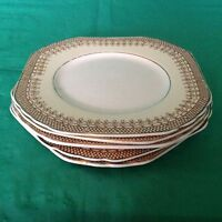 RARE! 6 DESSERT SQUARE PLATES BY WEDGWOOD TRELLIS BROWN LACE ON YELLOW BAND