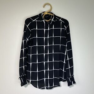 XS Womans WHO WHAT WEAR Black white sheer grid print shirt Oversized Fit