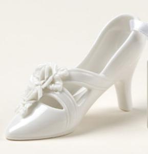 WEDDING CAKE TOPPER white porcelain slipper shoe 21st fairytale Cinderella charm