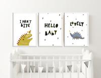 Bedroom Nursery Dinosaur Prints / Pictures Home Decor / Scandinavian Style