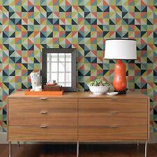 Multi à motifs géométriques carrés de papier peint-collez le mur multicolore triangles FD22621