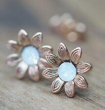 NEU Blüten OHRSTECKER rosegold SWAROVSKI STEINE white opal/weiß OHRRINGE