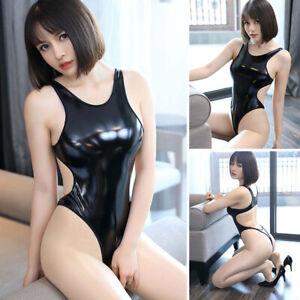 PVC Faux Leather Shiny Wet Look Playsuit Bodysuit Lingerie Leotard Top Clubwear