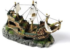 ✔ 3005 Galleon With Sails Shipwreck Ornament Fish Tank Aquarium Decoration 33cm✔