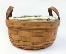 Longaberger 1992 Round Button Basket + Botanical Fields Liner & Protector (#14)