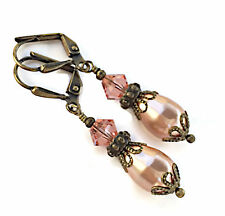 Boho Vintage Rose Peach Simulated Pearl Earrings with Crystal from Swarovski