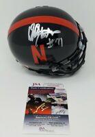 Dean Steinkuhler Signed Autographed Black  Nebraska Cornhuskers Mini Helmet JSA