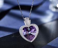 Halskette Herz Anhänger Collier mit Swarovski® Kristallen Silber 18K Weißgold