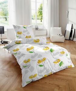 Vario Soft Seersucker Bettwäsche 80x80+155x220cm Blumen gelb #213014-081