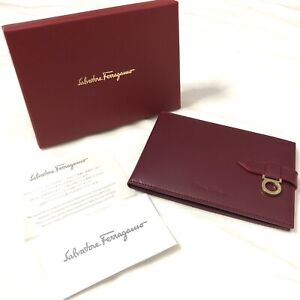 Authentic Salvatore Ferragamo VIP Gancini Red Photo Frame Leather With Box Rare