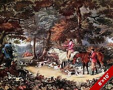 FOREST FOX HUNT HORSE ENGLISH FOXHUNTING HUNTING ART PAINTING REAL CANVAS PRINT