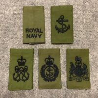 ROYAL NAVY OLIVE GREEN RANK SLIDE,LEADING RATE,PETTY & CHIEF PETTY OFFICER,WO1