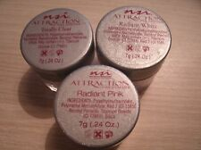NSI ATTRACTION ACRYLIC NAIL POWDER (7 GR) TRIO //  RADIANT WHITE - TOTALLY CLEAR