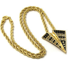 """Mens Gold Iced Out Paper Plane Pendant 30"""" Rope Chain Hip Hop Necklace D863"""