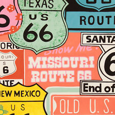 Alexander Henry HISTORIC 66 Nostalgic Route 66 Road Sign Fabric - Bright Pink