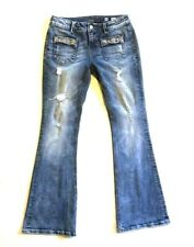 Miss Me Mid Rise Flare Jeans Womens 30 X 32 Embellished Bling Pockets Destroyed