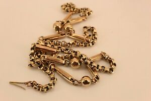 """Super Condition 9ct Rose Gold Victorian Orb Ball Chain Necklace 18"""" NICE1"""
