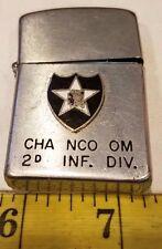 RARE VINTAGE VIETNAM WAR FLIP TOP LIGHTER CHA NCO OM 2D INF. DIV. {L18}