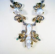 BAROQUE PEARL CHROME DIOPSIDE EMERALD NECKLACE 14k 2-TONE GOLD-plated 925 SILVER