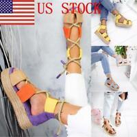 BY Women Fashion Platform Espadrilles Hemp Rope Sandals Shoe Size 2.5-8.5 New US