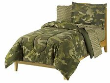 Dream Factory Geo Camo Army Boys Comforter Set Green Twin