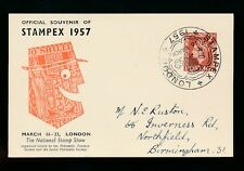 PHILATELIC EXHIBITION 1957 STAMPEX STATIONERY CARD VFU SPECIAL CANCEL