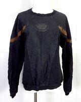 vtg 80s 90s Italian Boys GRUNGE Black Brown Faux Leather Panel Sweatshirt M/L