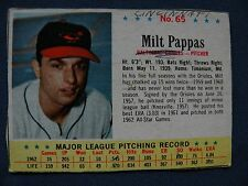 1963 Post Cereal Milt Pappas Orioles card #65 MLB baseball $1 S&H