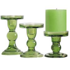 Green Glass Pillar Candle Holder Candlestick Taper Candle Set Home Wedding Decor