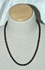 "Elegant 8mm Round Black Onyx and 14K Gold Beaded Necklace 22"""
