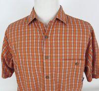 Patagonia Medium Short Sleeve Shirt Button Up Plaid Orange Poly Organic Cotton