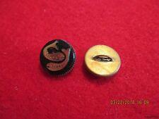 """Buttons-Black Glass Gold Pisces Zodiac in brass metal shank Button-.534""""=13.57mm"""