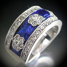 Montana Royal Blue Enamel & Austrian Crystal 24k WHITE GOLD EPBAND Ring