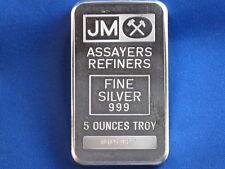 Johnson Matthey .999 Silver 5 Oz Struck Ingot B4327
