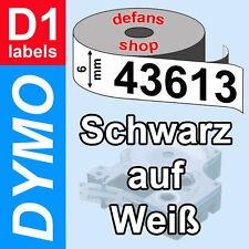 DYMO D1 Schriftbandkassette 43613 schwarz auf weiß 6mm white S0720780 ORIGINAL